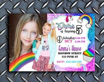 Jojo Siwa Birthday Invitation, Jojo Siwa Invitation With Photo, Jojo Siwa Invitation Party, Jojo Siwa Party, Jojo Siwa Invites, Jojo Siwa