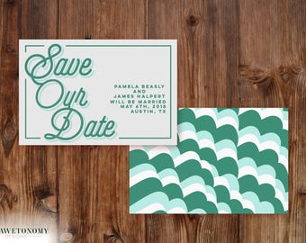 Sweet Save The Date Wedding Announcement- Cursive, retro, script font, trendy