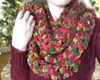 Fall Colored Crocheted Infinity Scarf