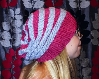 Raspberry ripple hand knitted slouchy woolly hat