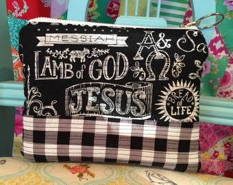 Zippered Pouch  Coin Purse Lamb of God Names of God Scripture Gingham black and white Gift