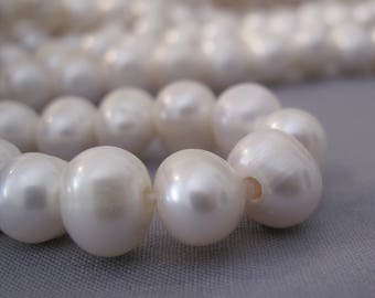 12mm Full Strand Large Hole Potato Natural White Freshwater Pearl Beads, 2.2mm Hole Genuine Natural Freshwater Pearl Beads (LHWH-068)