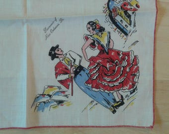 Vintage New Orleans Souvenir Hankie Featuring Flaminco Dancers