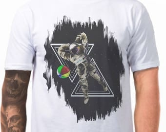 Astronaut and chill - Band t-shirts - Unique t shirt - art tshirt - punk clothing for men - streetwear