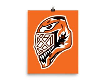 "Orange ""92"" Goalie Mask Poster"