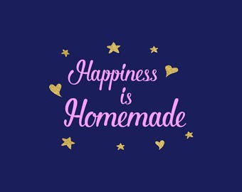 Happiness Is Homemade SVG, New Home Svg, Family Clipart, Silhouette, Cricut Explore, Graphic Overlays, Vinyl Files, Vector File, NW2085