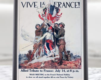 American French Propaganda Poster Reproduction, war propaganda, wwi prints, boys room decor, ww1 memorabilia, ww1 memorial, somme, verdun