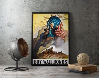 WW2 American Propaganda Poster Buy War Bonds - Uncle Sam military wall art decor, world war ii, second, us, usa, militaria retirement gift