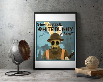 "American Propaganda Poster ""Have no Fear, White Bunny Is Here!"", us, united states military decorations, army decor, gas mask, wwi, ww1, ww2"