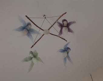 Olive wood, carded wool fairy mobile Steiner Waldorf