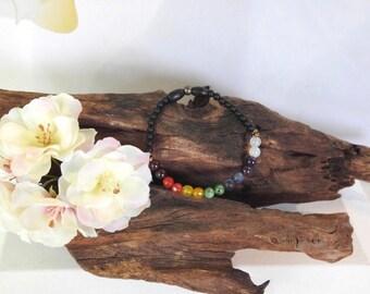 Natural Gemstone Seven Chakra healing gemstone stretch bracelet