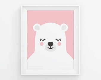 PRINTABLE Sleepy Bear Nursery Art. Pink Baby Girl Room Wall Decor. Cute Kids Closed Eyes Polar Bear Poster. Animals Sleeping Digital Prints