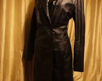 Vintage Black Leather Coat. 12