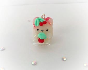 Opal Cherry Bear, Polymer Clay Kawaii miniature animal charm