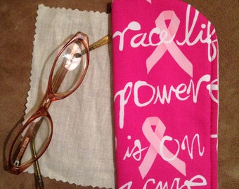 Breast Cancer Eyeglass Case /Women Eyeglass Case