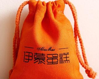 50 Custom coffee bags beige cotton fabric bag printing logo personalized coffee pouch bag wedding favor bag coffee bean packaging bag
