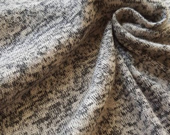 Tan and black cotton poly rayon lycra blend sweater knit fabric - SHOP FAVORITE - cotton blend fabric - textured knit fabric - sweater knit