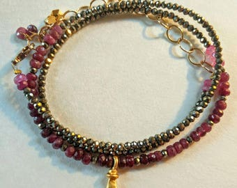 Ruby Pyrite 24k gold plated charm necklace wrap bracelet