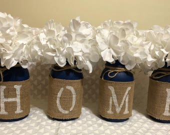 painted mason jar set, burlap, home, painted mason jar, country, housewarming gift, home painted mason jar, burlap mason jar, country decor