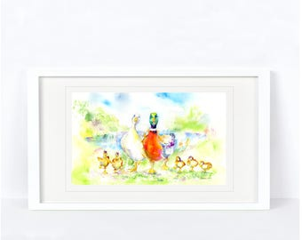 Mr & Mrs Duck - Duck Print. Printed from an Original Sheila Gill Watercolour. Fine Art, Giclee Print, Hand Painted,Home Decor