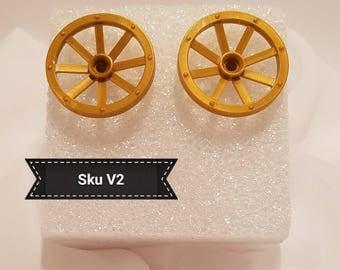 """Sku V2 - Lego """"Wagon Wheel"""" Earrings"""