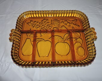 Tiara Indiana Amber Glass Fruit Relish Serving Tray Dish Divided Heavy