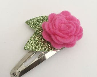 Pink Flower Snap Clip - Wool Felt - Snap Clips - 50mm Clips -