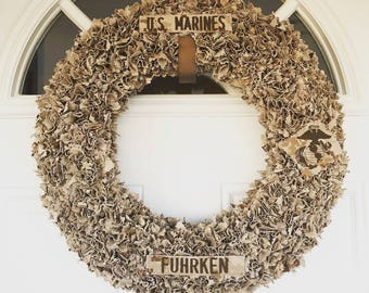 Patriotic Military Uniform Wreath, Camouflage Uniform Wreath, Camouflage Wreath, Uniform Wreath with Custom Name Tapes, Front Door Wreaths