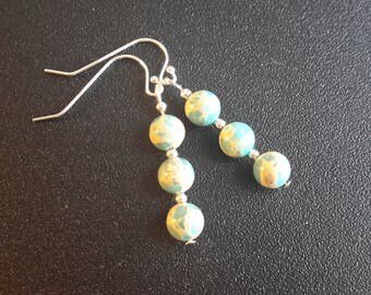 Sterling Silver Turquoise Impression Jasper Earrings