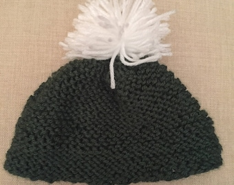 Olive green knit baby hat