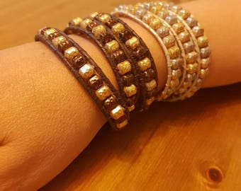 Beads and leather bracelet