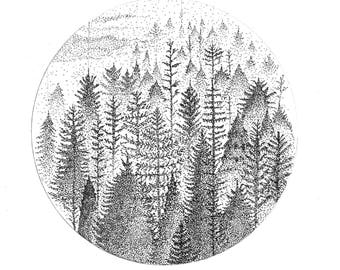 Dotwork Winter Forest