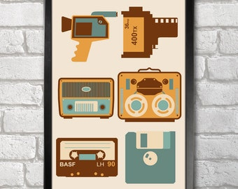 Vintage Devices print + 3 for 2 offer! size A3+  33 x 48 cm;  13 x 19 in