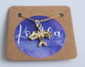 Gold Swallow Bird Necklace
