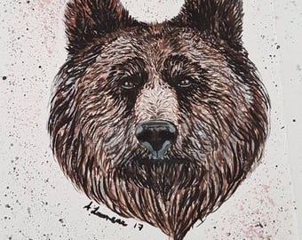 Hand painted watercolour bear's head.
