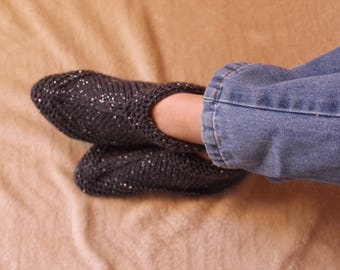 Hand-Knit Aunt Meta Slippers (Size 4-7 Women's)