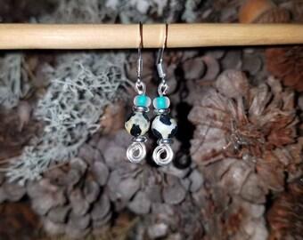 Beaded Spiral Earrings