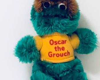 "Vintage Playskool Sesame Street OSCAR THE GROUCH 8"" Plush Stuffed Animal"