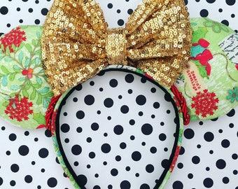 Handmade Mouse Ears Headband - Christmas Themed