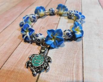 Child Flower & Turtle- stretch bracelet