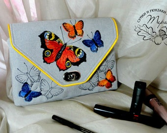 Toiletries bag  Cosmetic bag personalized Makeup bag cosmetic bag makeup makeup bag bridesmaid gift toiletry bag  Butterfly