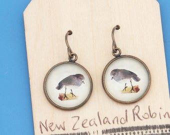 New Zealand Robin birds, vintage art print, Earrings, glass dome art, niobium hypo-allergenic
