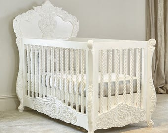 Bespoke - Rococo Itailian / French hand carved cot bed - Hand made in Kent - Available April 2018