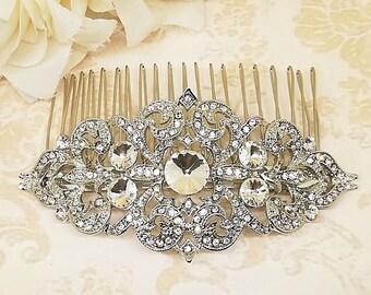 Silver Wedding Comb, Crystal Hair Comb, Bridal Hair Comb, Bridal Headpiece, Rhinestone Hair Comb, Wedding Hair Comb, Crystal Comb