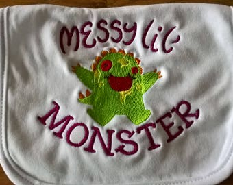 Messy Little Monster Baby Bib, Embroidered Bib, Pull On Baby Bib, Baby Bib, New Baby Gift, Christening Gift, Baby Shower Gift