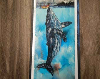 Alcohol Ink Whale print
