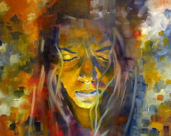 Oil on canvas painting. Colorful, figurative and large painting. Portrait of a indigenous woman of the Amazon. Horizontal painting.