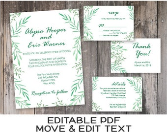 Greenery wedding invitation Botanical wedding invite printable Rustic wedding invitation template Boho wedding invitation editable DIGITAL