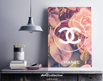 Unique Chanel wall flowers. Luxury. Wall decoration. Printable Wall Art Download.