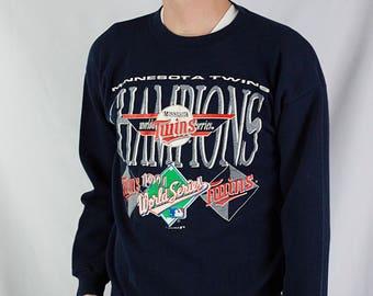 Vintage 1991 Minnesota Twins World Series Champs Crewneck Sweatshirt Size XL